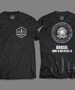 """Camiseta Baby Look Feminina """"Brasil, Ame-o ou Deixe-o"""""""