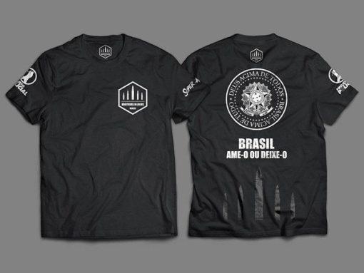 """Camiseta Unisex """"Brasil, Ame-o ou Deixe-o"""""""